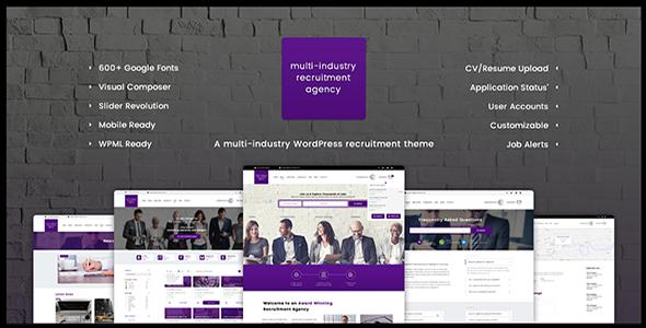 Agen Perekrutan - Multi Industri |  Tema WordPress Responsif